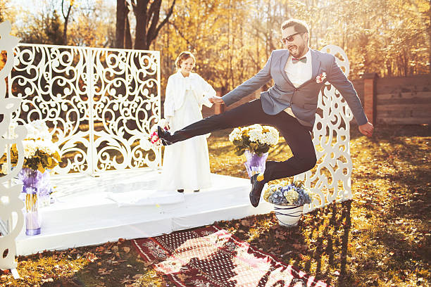 Happy groom and bride together. stock photo