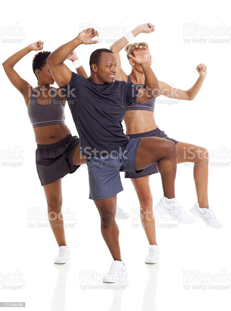 happy group doing aerobic dance stock photo