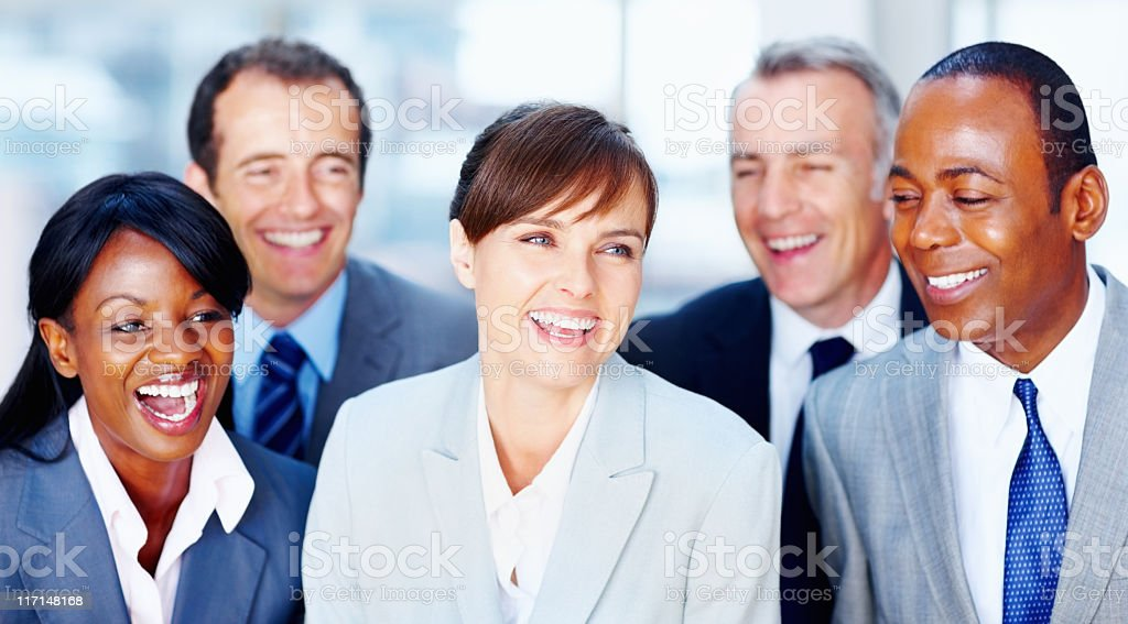 Happy group of business men and women royalty-free stock photo