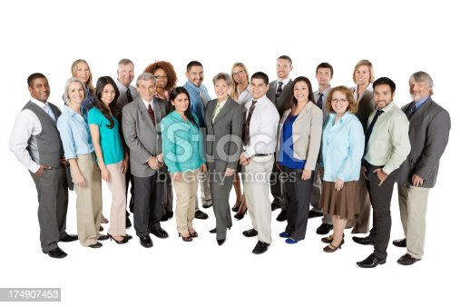 istock Happy group of business people; full length; isolated white 174907453