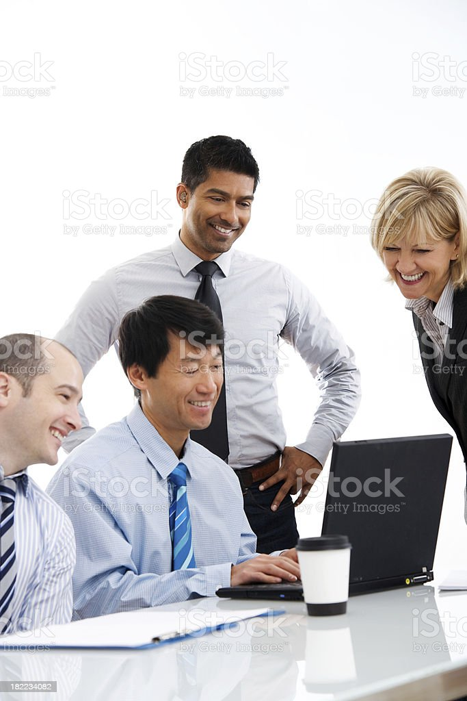 Happy Group of Business People Working at Desk or Table royalty-free stock photo