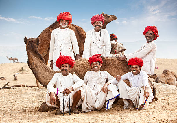 Happy Group Of Camel Drivers stock photo