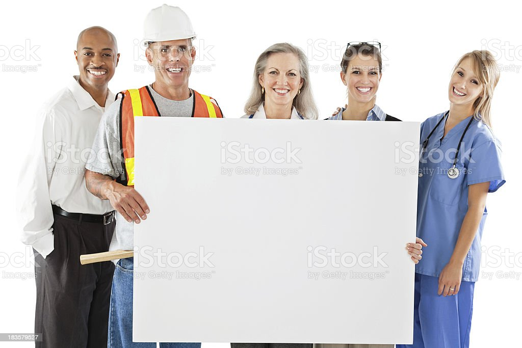 Happy Group of Different Professionals Holding Large Blank Sign royalty-free stock photo