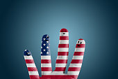 istock Happy group of finger smileys with USA flag painted 502970961