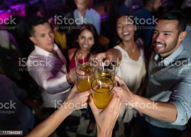 Happy Group Of Friends At The Nightclub Making A Toast Stock Photo - Download Image Now