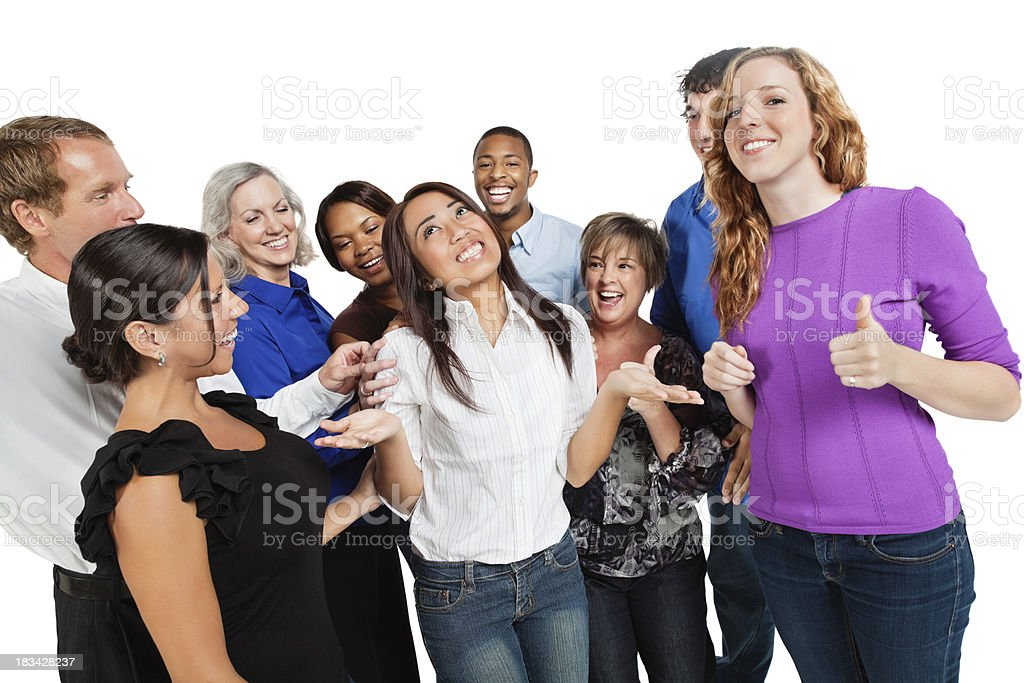 Happy Group of Friends Congratulating Girl in the Middle royalty-free stock photo