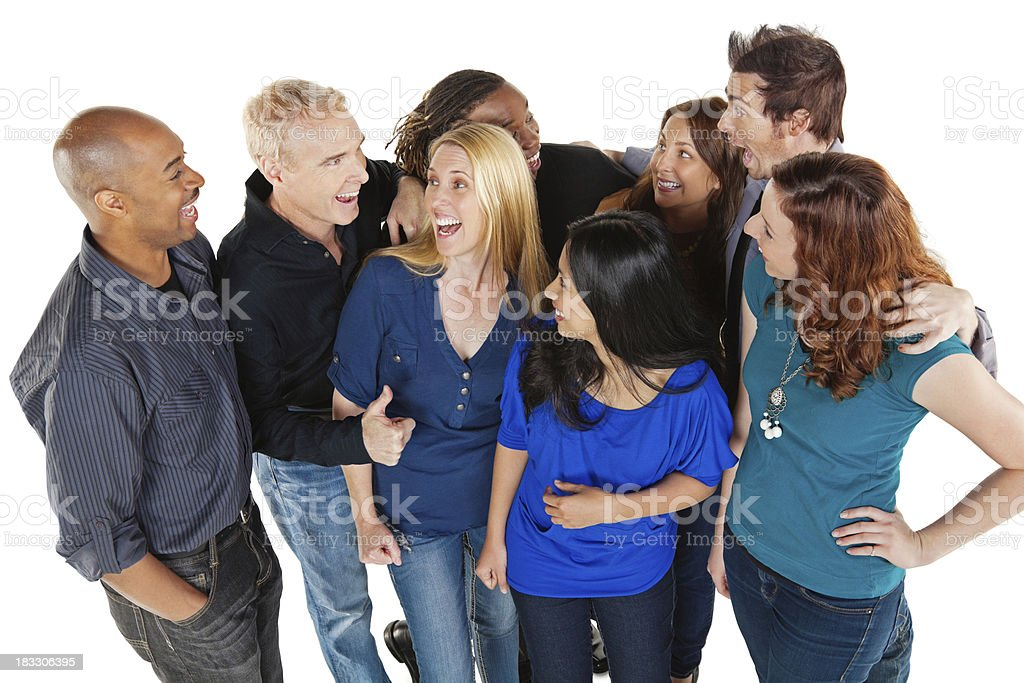 Happy Group of Friends Laughing Together, Isolated on White royalty-free stock photo