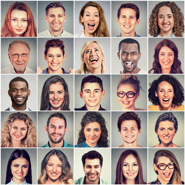 Happy group of multiethnic positive people men and women stock photo