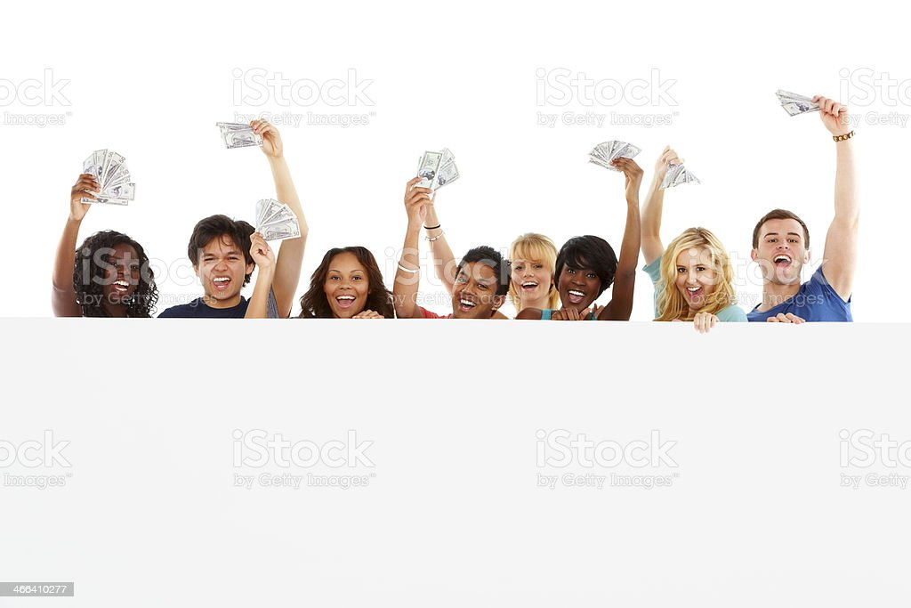 Happy group of multiracial students showing cash stock photo