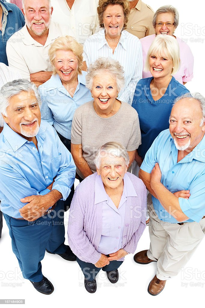 Happy group of old people standing together royalty-free stock photo
