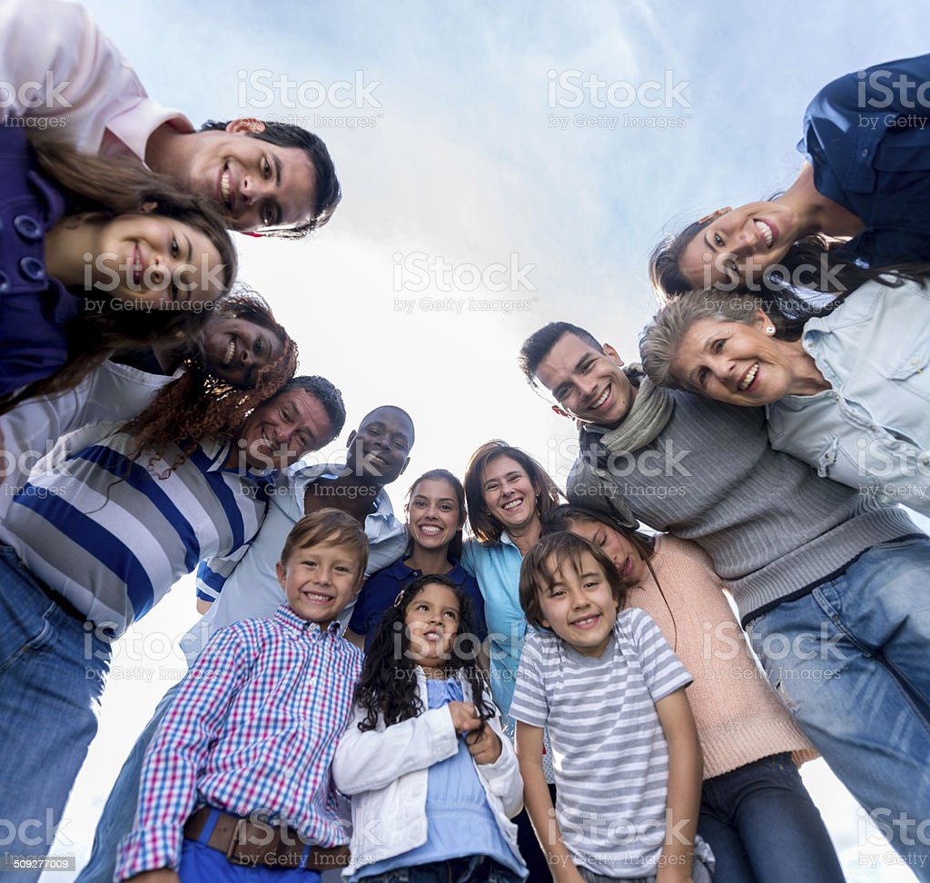 Happy group of people stock photo