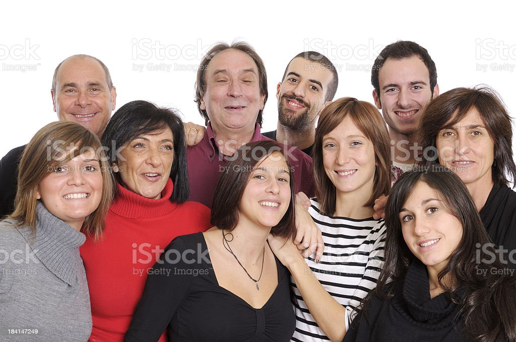 Happy Group of People,Family or Team,Isolated royalty-free stock photo