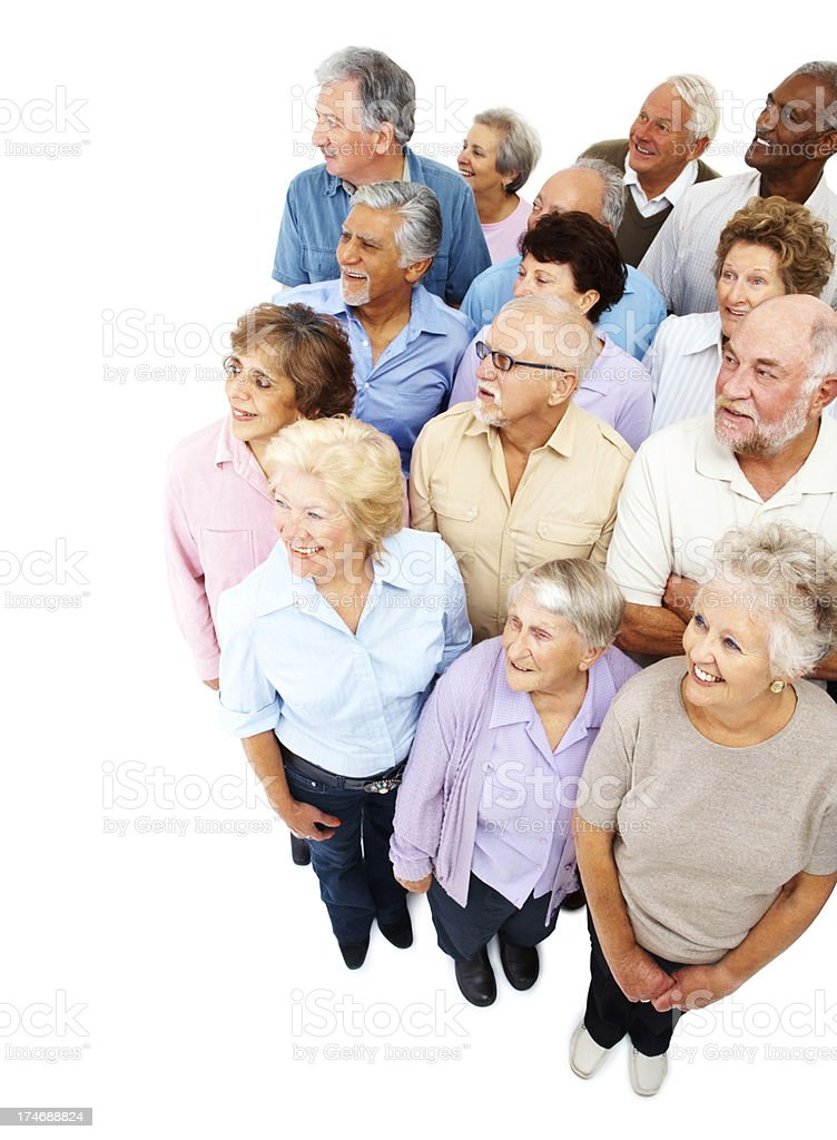 Happy group of senior citizens looking away royalty-free stock photo