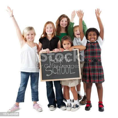 639569206 istock photo Happy Group of Students Holding Back To School Sign 157645498