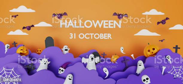 Photo of Happy Halloween banner or party invitation background with clouds, bats, skull, bone, spiders web and pumpkins in paper cut style. 3d rendering. Copy space for text. Website spooky or banner template.