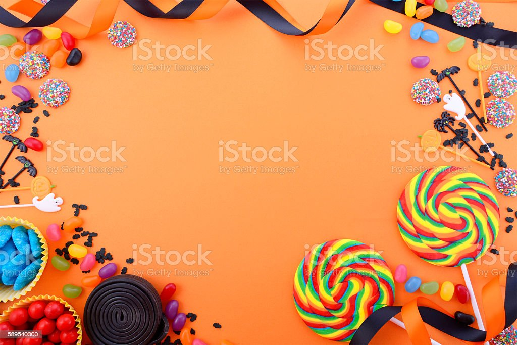 Happy Halloween Candy Background stock photo