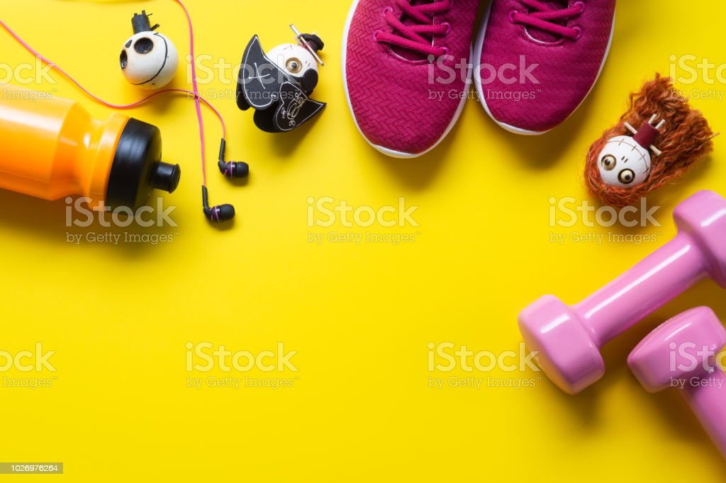 Happy Halloween day with Fitness, Exercise, Working out healthy lifestyle background concept.  Flat lay Top view with copy space for your text. stock photo
