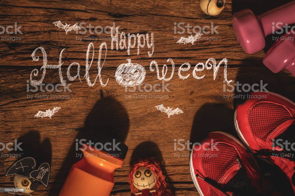 Happy Halloween day with Fitness, Exercise, Working out healthy lifestyle background concept. stock photo