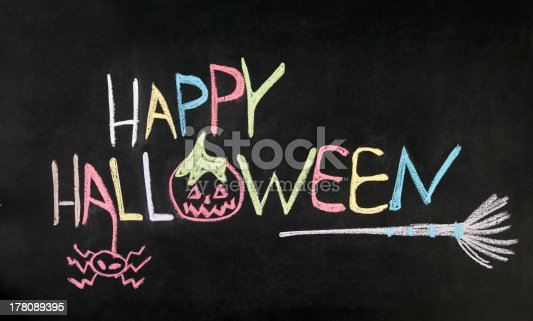 istock Happy Halloween message on blackboard 178089395