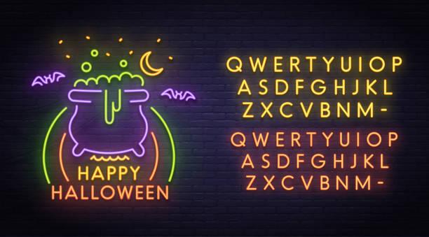 happy halloween neon sign, hellen schild licht banner. halloween-partei-logo, emblem. neon sign schöpfer. neon-textbearbeitung - neon partylebensmittel stock-fotos und bilder