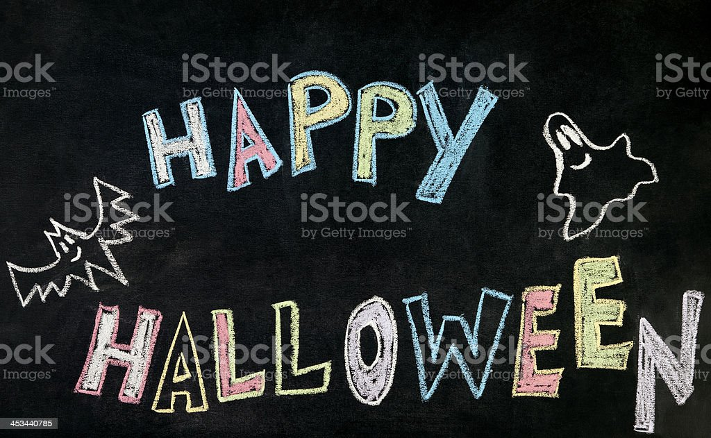 Happy Halloween on Blackboard royalty-free stock photo