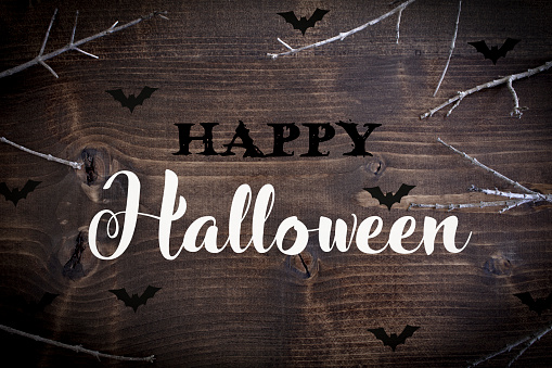 Happy Halloween written on dark distressed wood with branches.