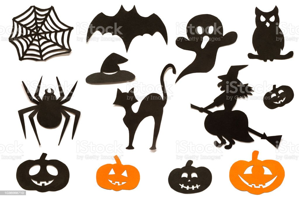 Happy Halloween Set silhouettes cut out of black orange paper isolated on white background. stock photo