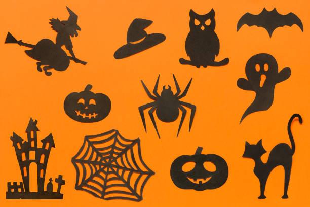 Happy halloween set silhouettes cut out of black paper on orange picture id1036568716?b=1&k=6&m=1036568716&s=612x612&w=0&h=augrbrefhvu4pinfrorrxtzcturls3s2ultf8t7mbxi=