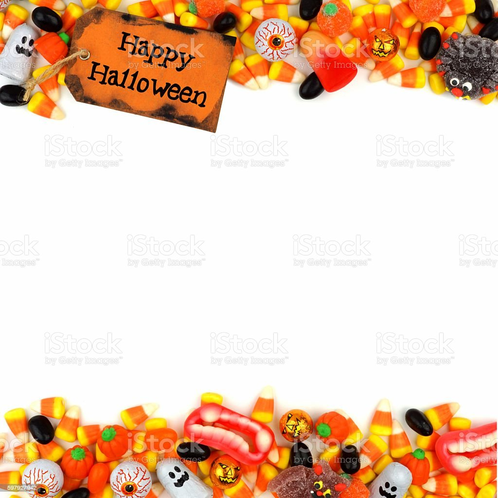 Happy Halloween Tag With Candy Double Border Over White stock ...