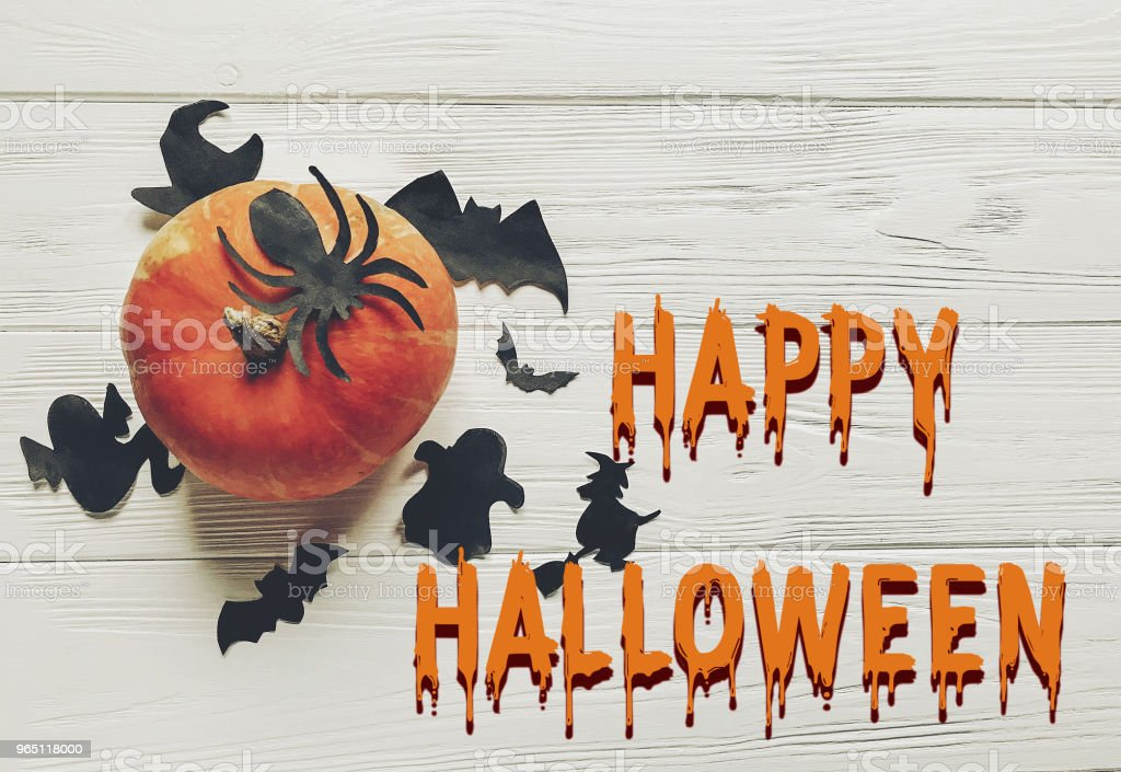 happy halloween text flat lay.  pumpkin with witch ghost bats and spider black decorations on white wooden background top view with space for text. seasonal greetings zbiór zdjęć royalty-free