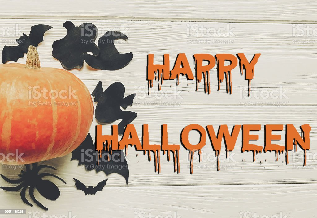 happy halloween text flat lay.  pumpkin with witch ghost bats and spider black decorations on white wooden background top view with space for text. cutouts for autumn holiday zbiór zdjęć royalty-free