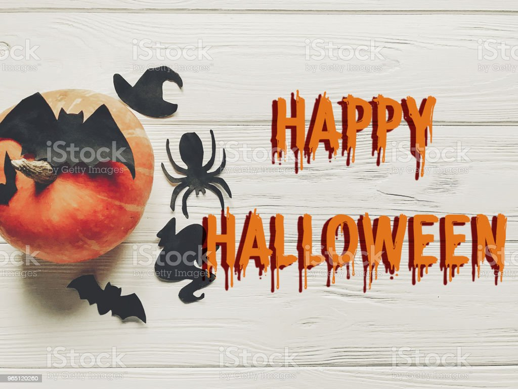 happy halloween text flat lay.  pumpkin with witch ghost bats and spider black decorations on white wooden background top view with space for text. cutouts for autumn holiday royalty-free stock photo