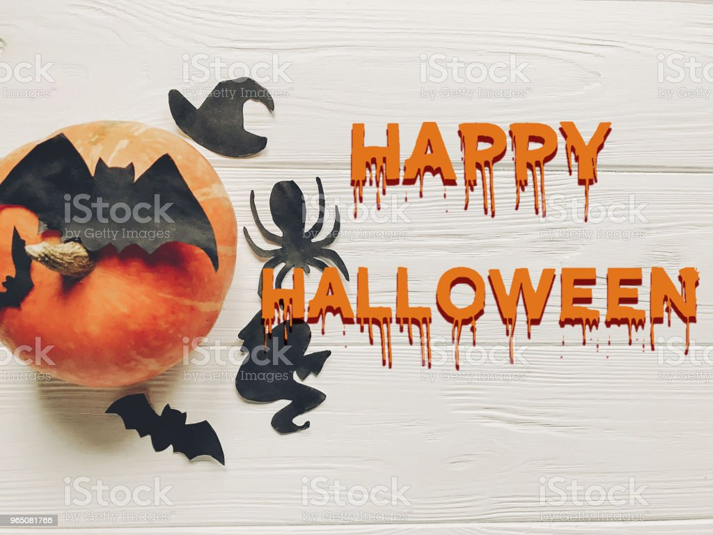 happy halloween text. pumpkin with witch ghost bats and spider black decorations on white wooden background top view with space for text. seasonal greetings, holiday celebration zbiór zdjęć royalty-free