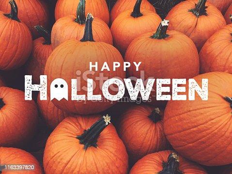 istock Happy Halloween Text With Pumpkins Background 1163397820