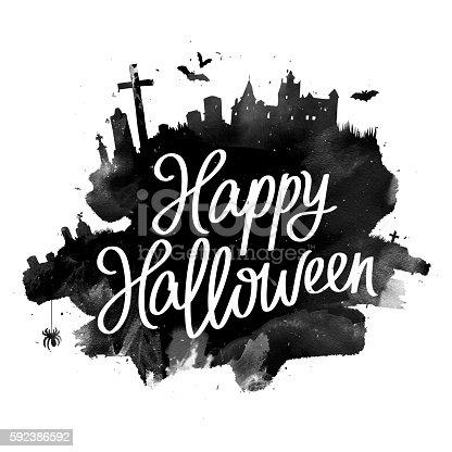 1057069236 istock photo Happy Halloween. The trend calligraphy 592386592