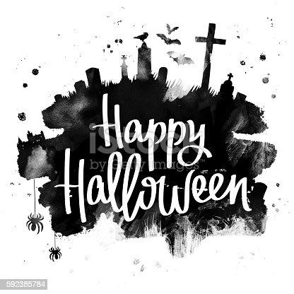 1057069236 istock photo Happy Halloween. Trend calligraphy 592385784