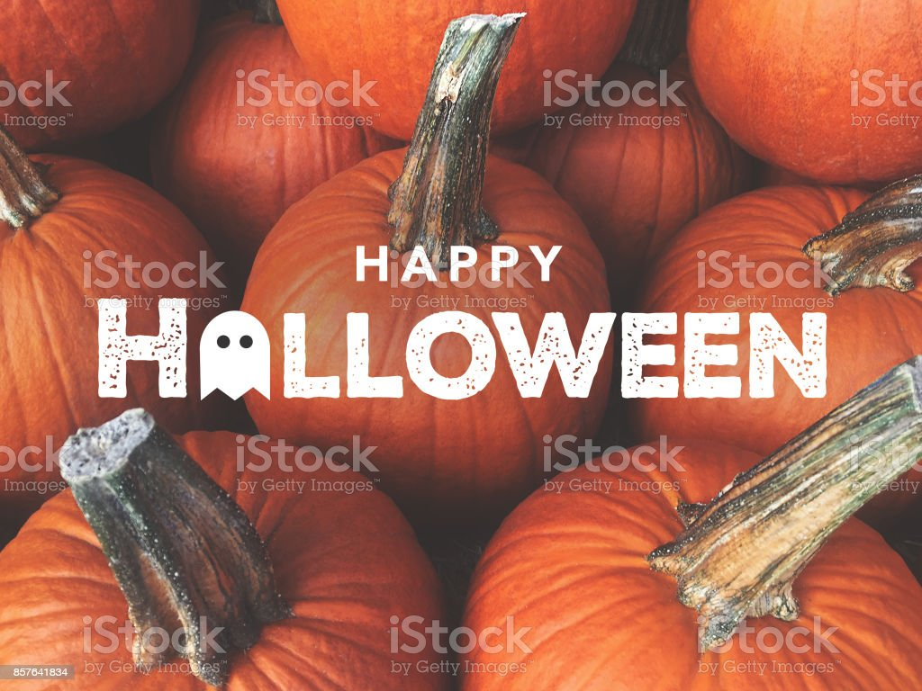 Happy Halloween Typography With Pumpkins Background stock photo
