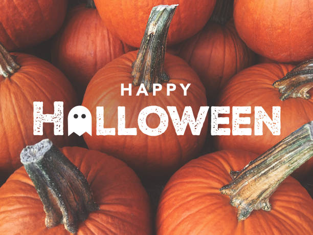 happy halloween typography with pumpkins background - halloween стоковые фото и изображения