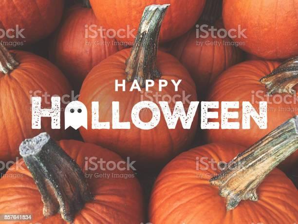 Happy Halloween Typography With Pumpkins Background, Horizontal