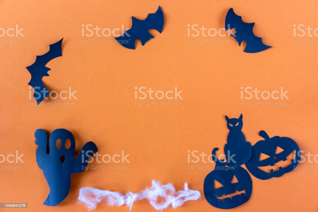 Happy Halloween with black cat and pumpkin and spider stock photo