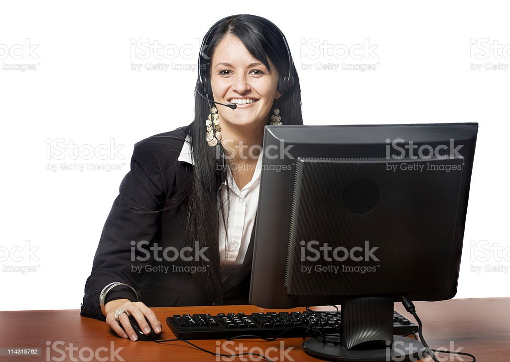 Happy headset girl royalty-free stock photo