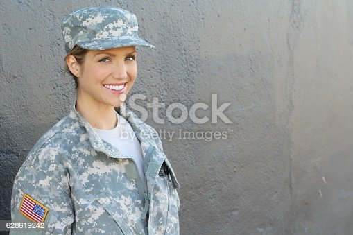 istock Happy healthy army female soldier 628619242