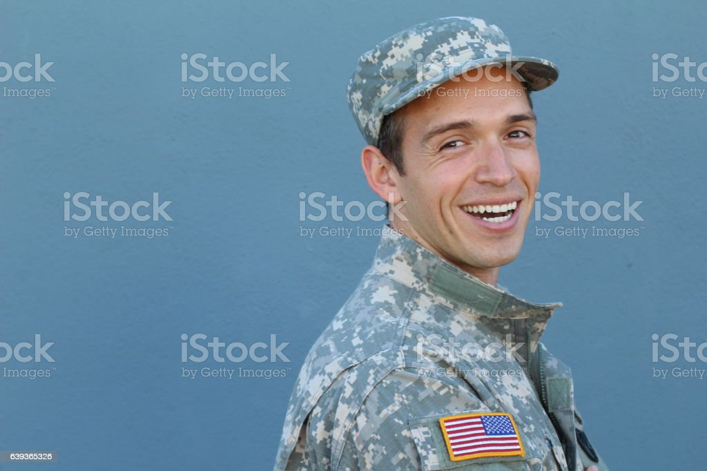 Happy healthy ethnic army male soldier stock photo