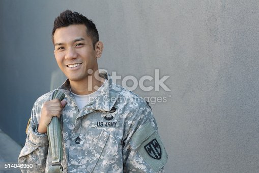 istock Happy healthy ethnic army soldier 514046950