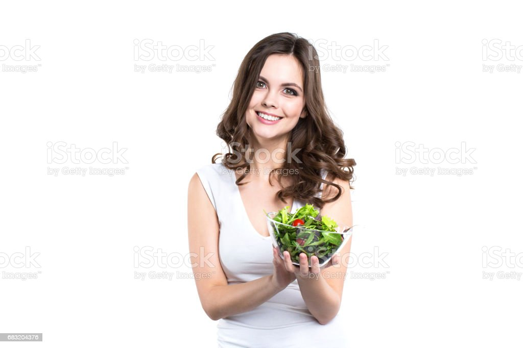 Happy healthy woman with salad Isolated. royalty-free 스톡 사진