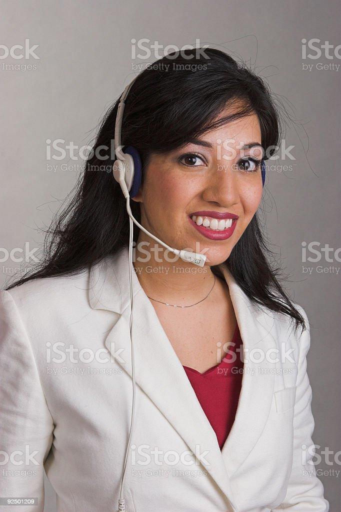 Happy helpdesk worker royalty-free stock photo