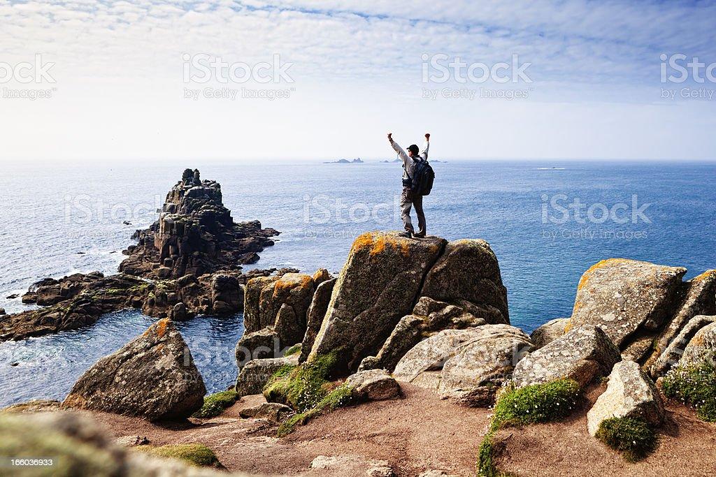 Happy hiker at Lands End, Cornwall royalty-free stock photo
