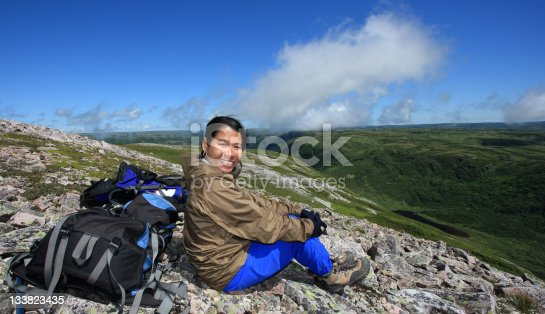 458694311 istock photo Happy Hiker on Gros Morne Mountain 133823435