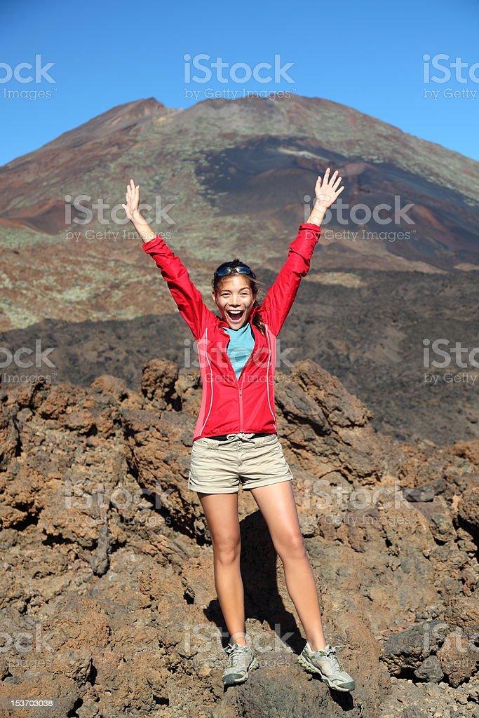 Happy hiking person celebrating royalty-free stock photo