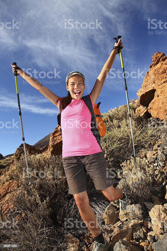Happy hiking success royalty-free stock photo
